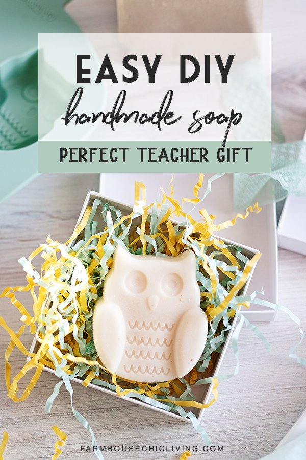 This is one of the most easy homemade soap recipes. It makes the perfect teacher gift ideas for the end of the school year, back to school, or any time in between!