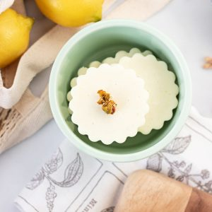 This lemon soap recipe is very similar in smell and appearances to a lemon pie with one exception – it starts with a soap base, not flour and sugar!