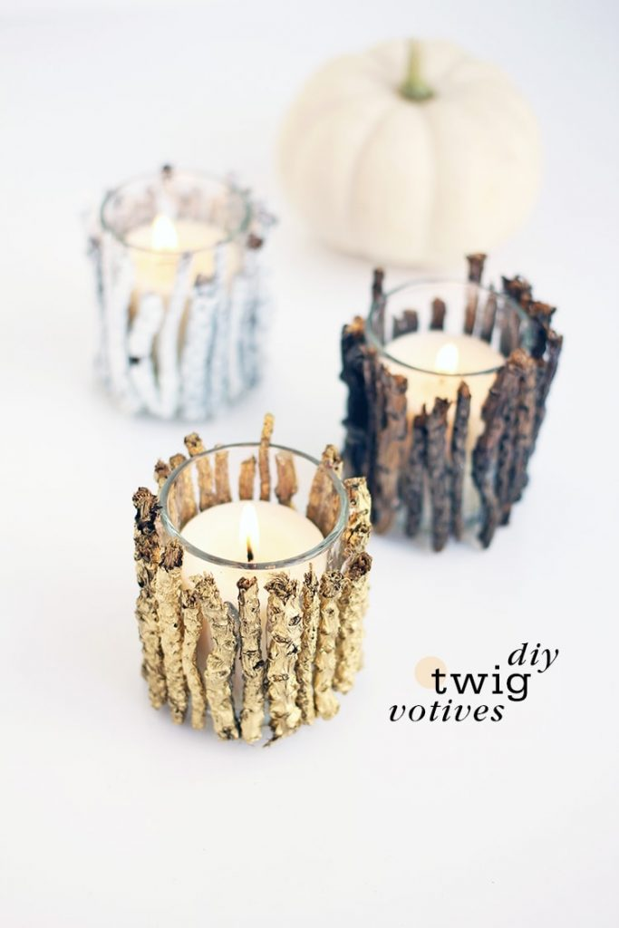These DIY Twig Votive Candle Holders are sure to bring some extra warmth to your farmhouse.