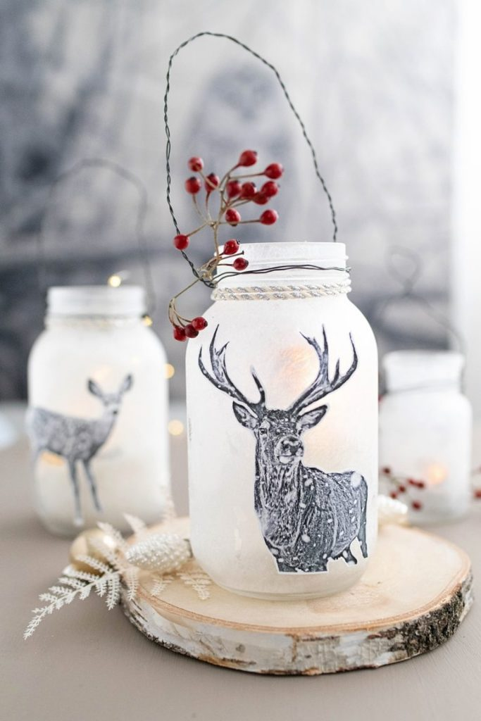 Transform spaghetti sauce or pickle jars into decorative cozy lanterns with free printable woodland images.