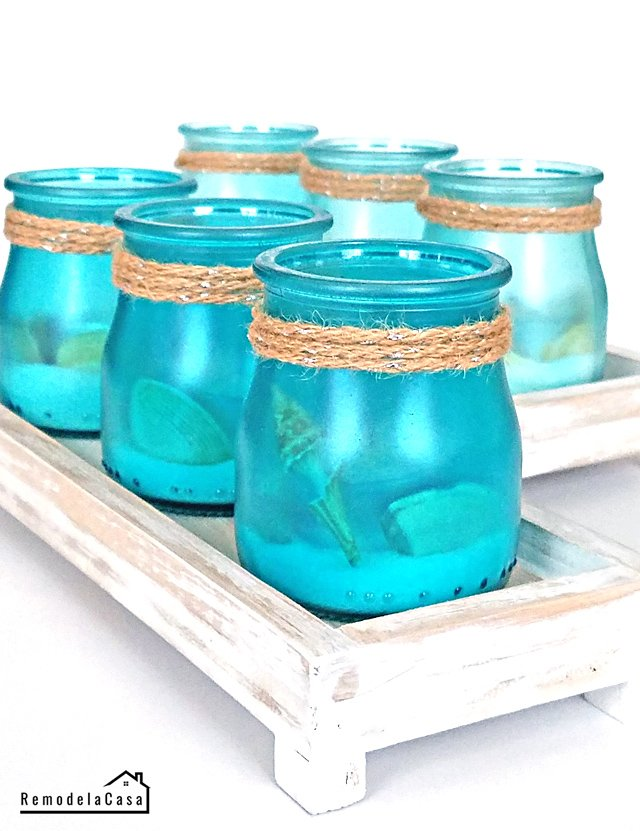 These super cute votives have the most gorgeous color for a coastal style.